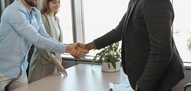 Shaking hands at an interview